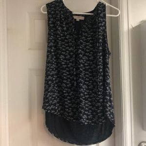 Loft GUC large shell with tie. Floral print. Navy
